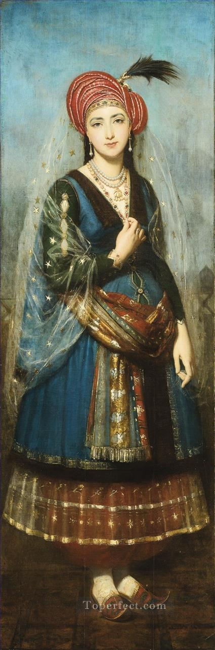 JEUNE FEMME EN COSTUME OTTOMAN by Ecole francaise du milieu du XIXe siecle Islamic Oil Paintings